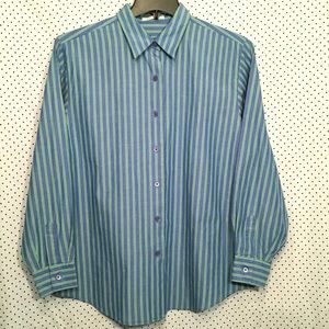 Striped Button Down Cotton Long Sleeve Top